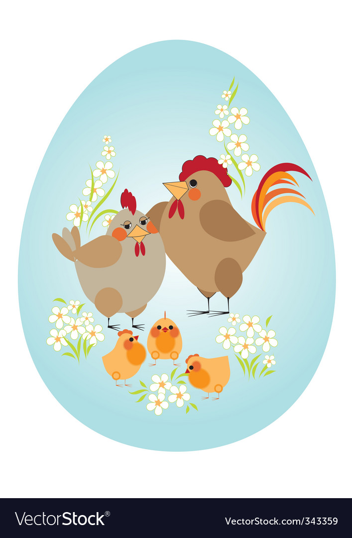 Easter egg chicken family vector | Price: 1 Credit (USD $1)