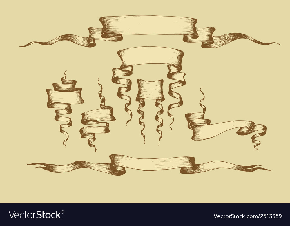 Old banners ribbons and manuscripts vector | Price: 1 Credit (USD $1)