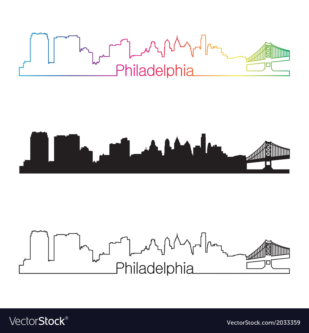 Philadelphia skyline linear style with rainbow vector | Price: 1 Credit (USD $1)