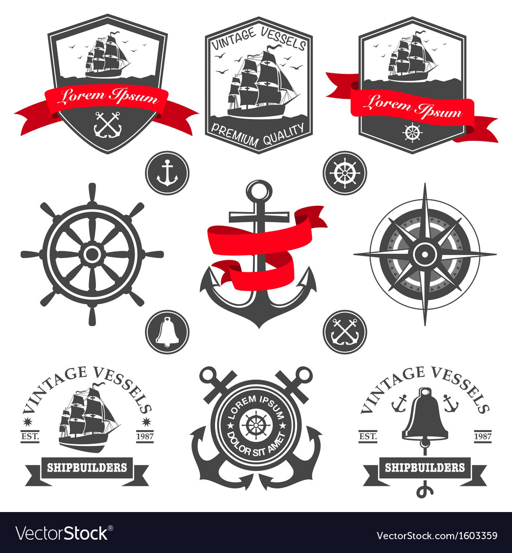 Set of vintage nautical labels and icons vector | Price: 1 Credit (USD $1)