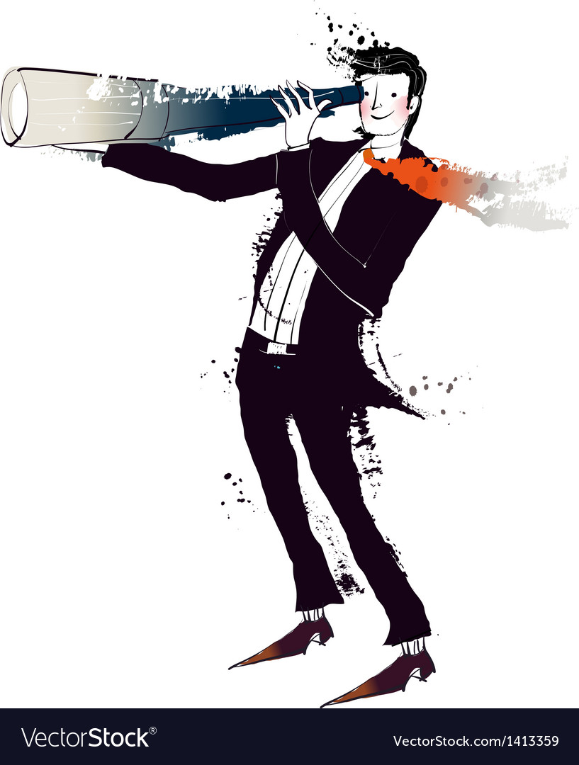Side view of man holding telescope vector | Price: 3 Credit (USD $3)