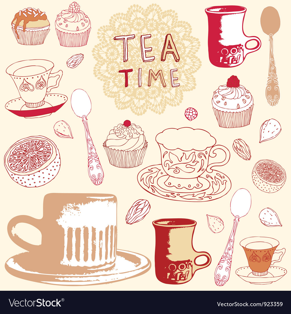 Tea time background vector | Price: 1 Credit (USD $1)