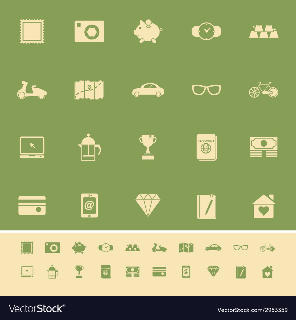 The useful collection color icons on green vector | Price: 1 Credit (USD $1)