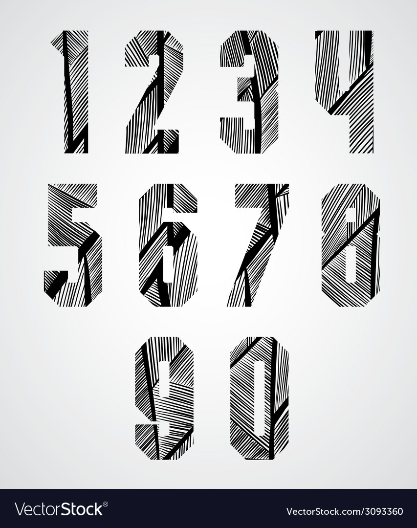 Bold condensed poster style numbers with hand vector