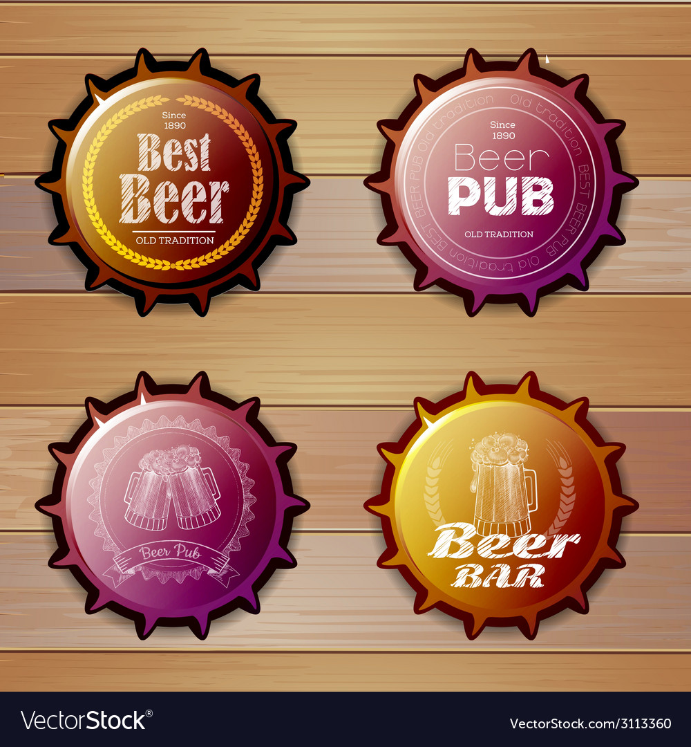 Bottle cap design beer labels vector | Price: 1 Credit (USD $1)