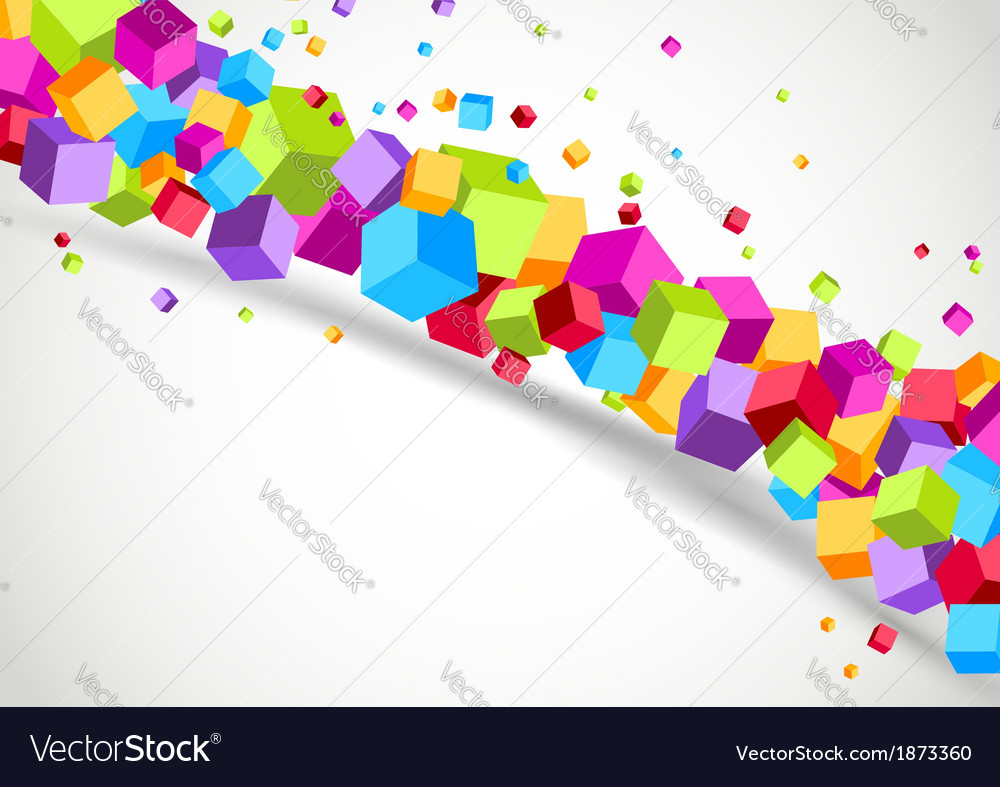 Colorful cubes line - geometrical background vector | Price: 1 Credit (USD $1)