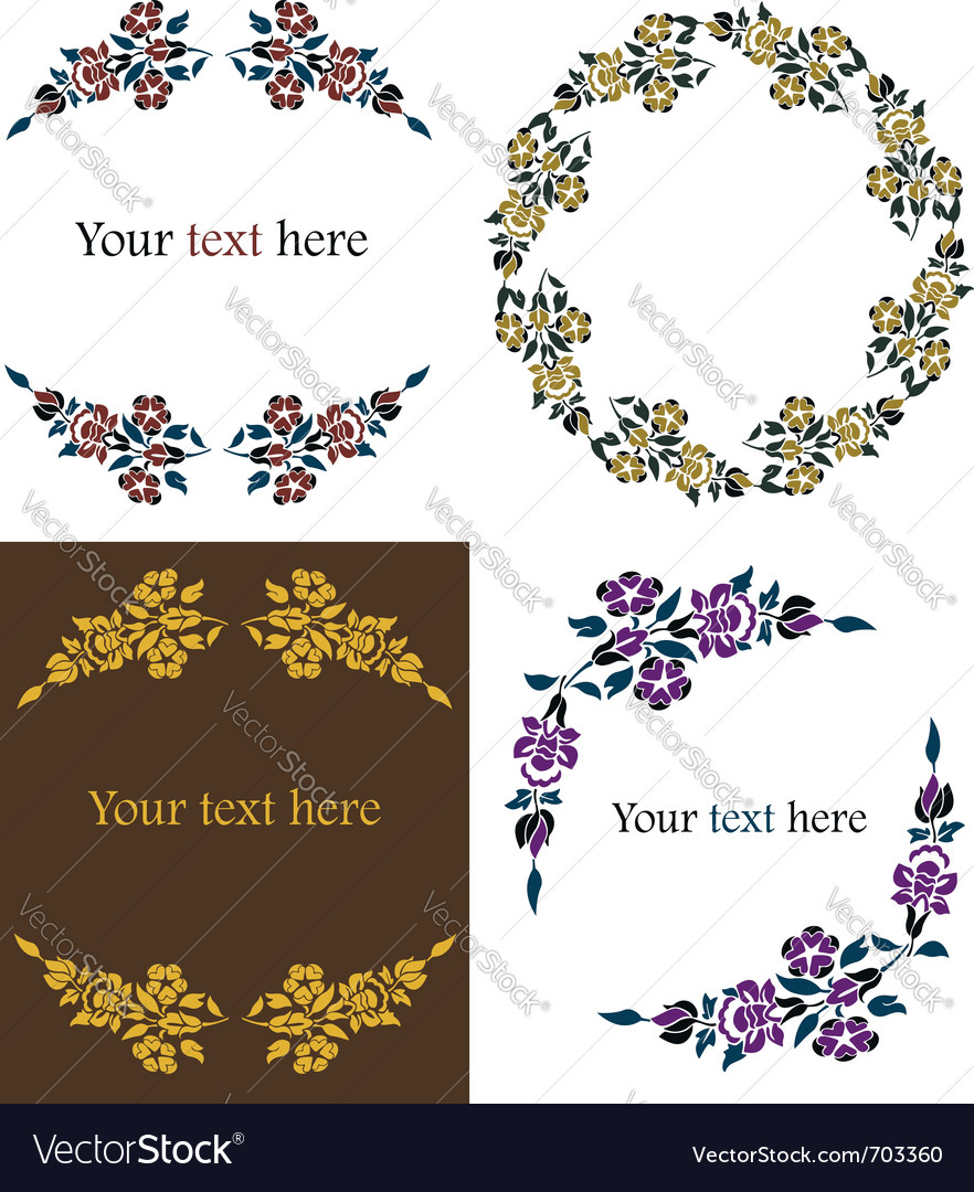 Decorative floral frames set vector | Price: 1 Credit (USD $1)