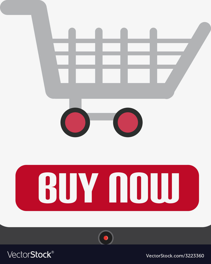 Flat design with tablet with shopping cart vector | Price: 1 Credit (USD $1)
