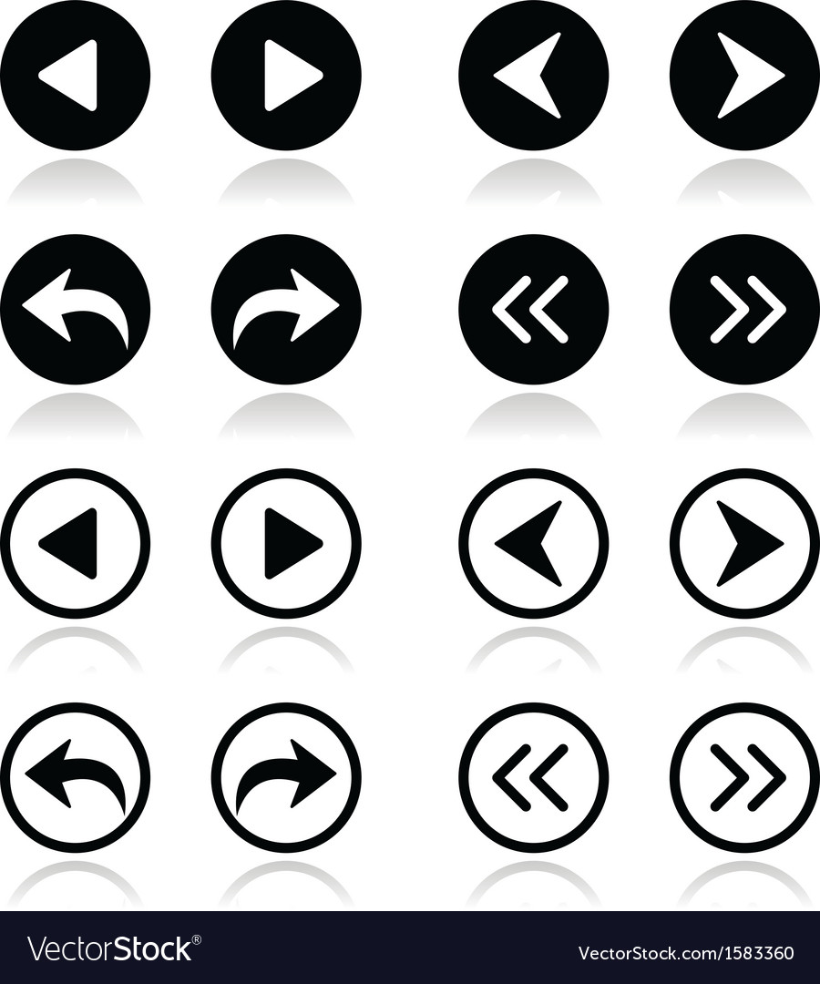 Left and right arrows round icons set vector | Price: 1 Credit (USD $1)