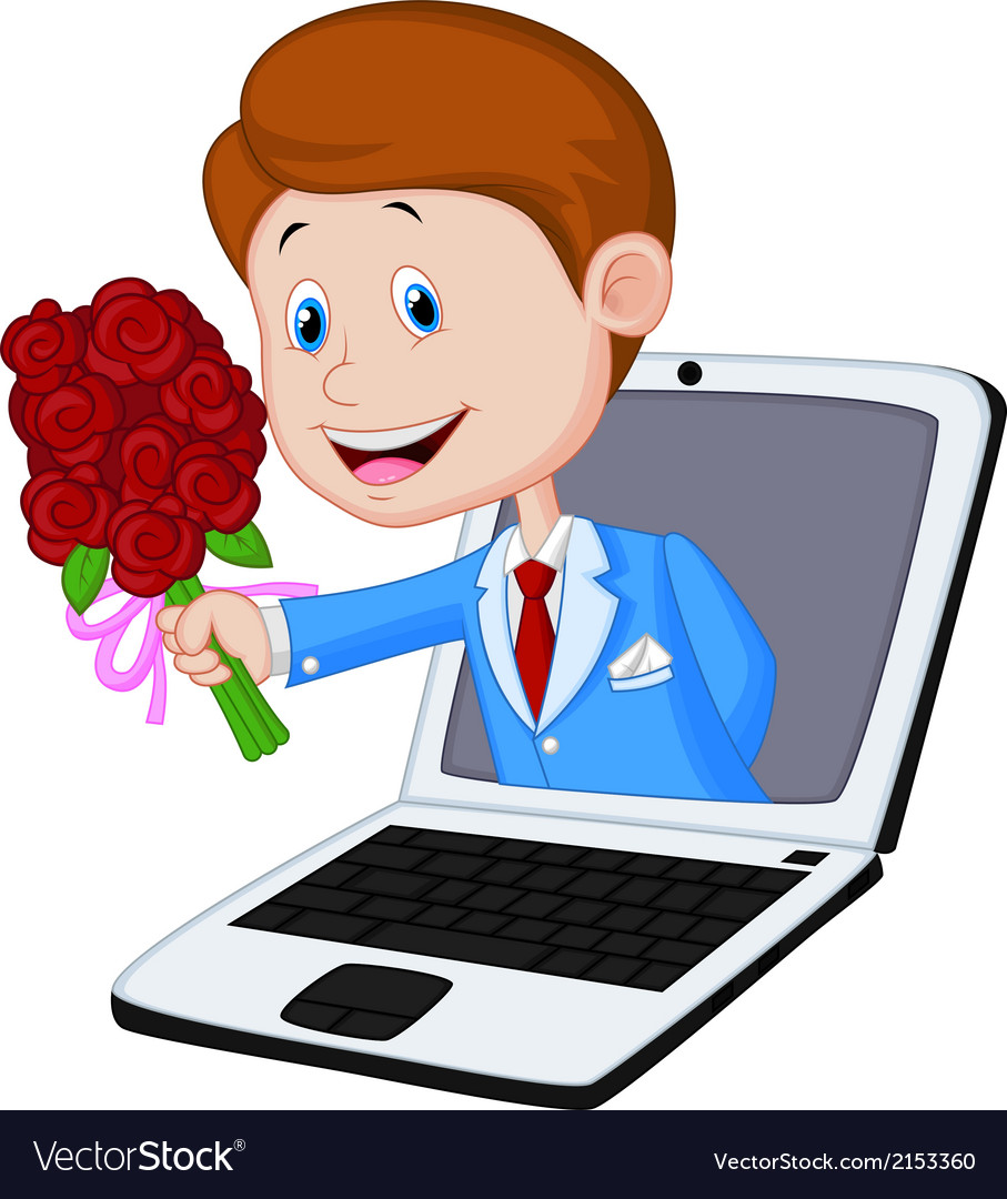 Man cartoon with rose come out from laptop vector | Price: 1 Credit (USD $1)