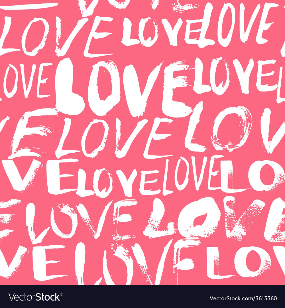 Pattern with hand painted words love vector | Price: 1 Credit (USD $1)