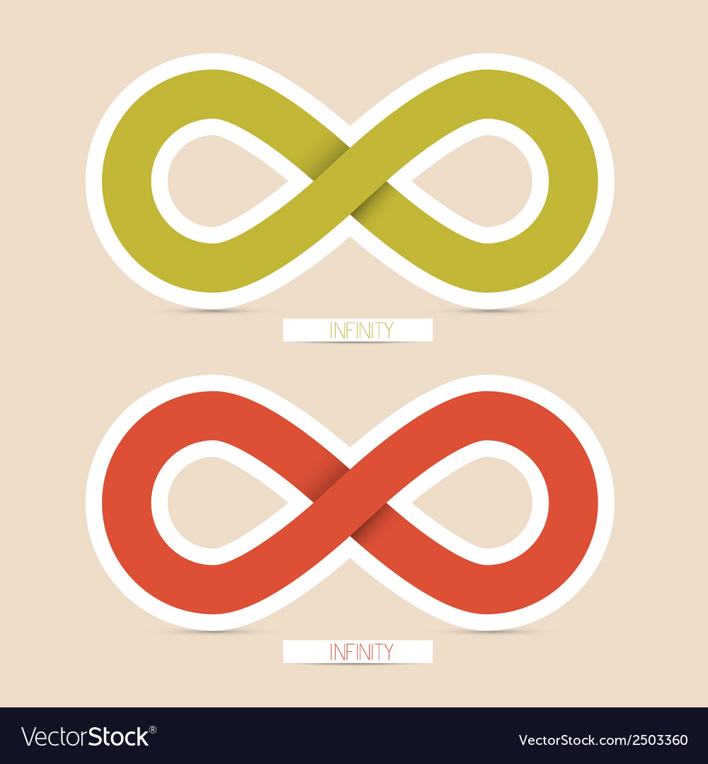 Red and green paper infinity symbols vector | Price: 1 Credit (USD $1)