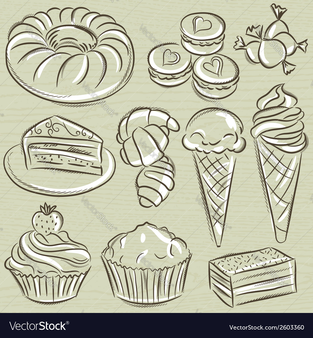 Set of different sweetmeats vector | Price: 1 Credit (USD $1)
