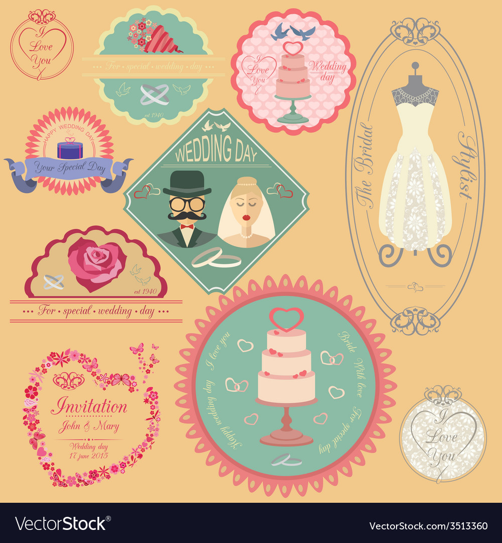 Set of vintage wedding and wedding fashion style vector | Price: 1 Credit (USD $1)