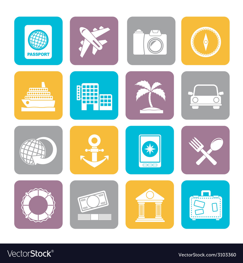 Silhouette tourism and travel icons vector | Price: 1 Credit (USD $1)
