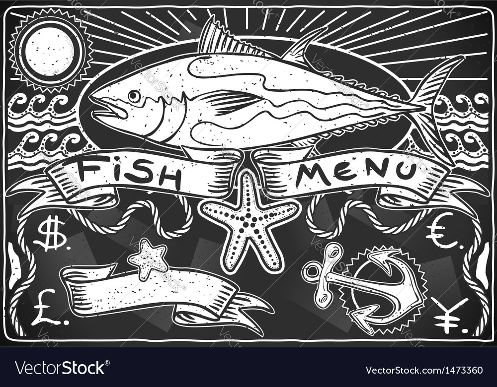Vintage graphic blackboard for fish menu vector | Price: 1 Credit (USD $1)