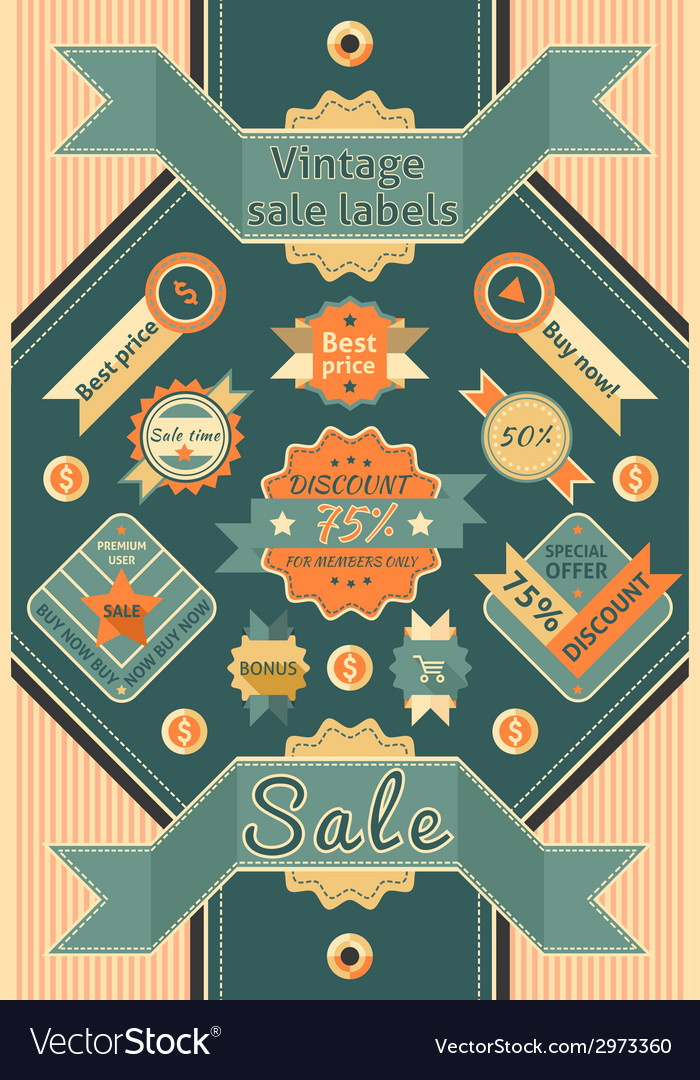 Vintage sale labels vector | Price: 1 Credit (USD $1)