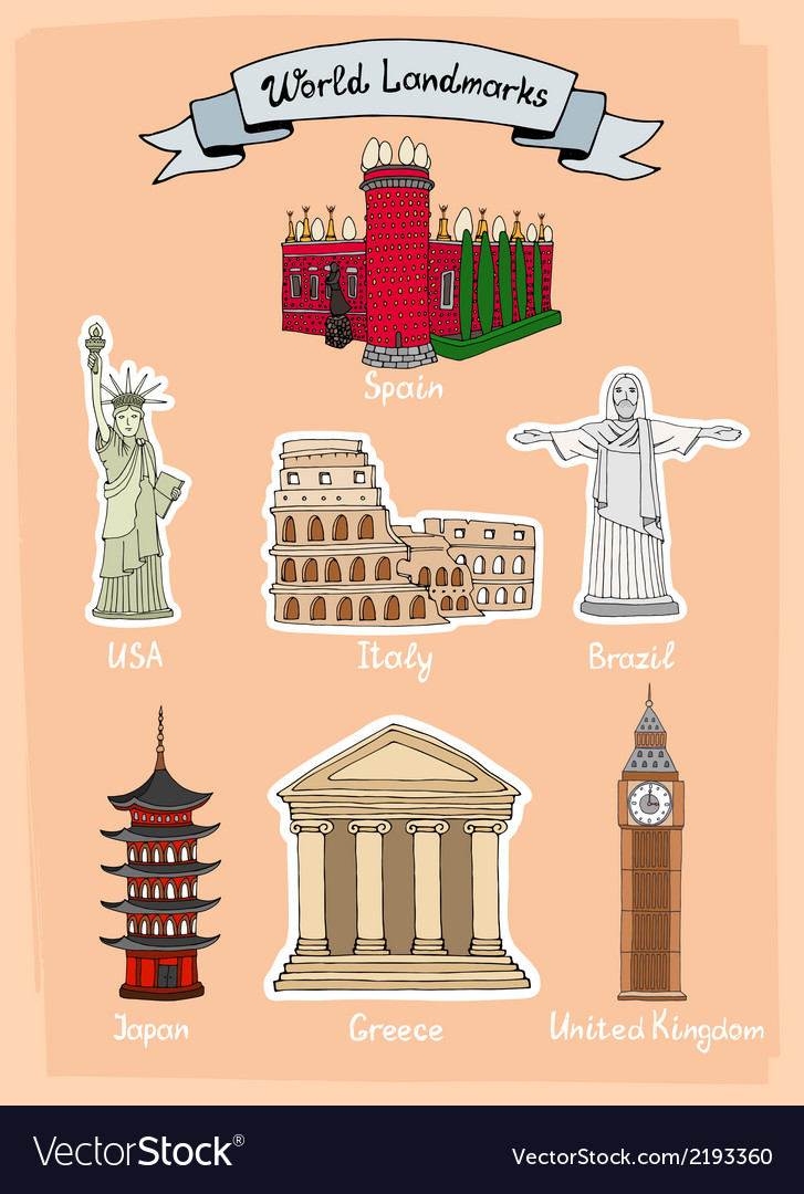World landmarks icon set vector | Price: 1 Credit (USD $1)