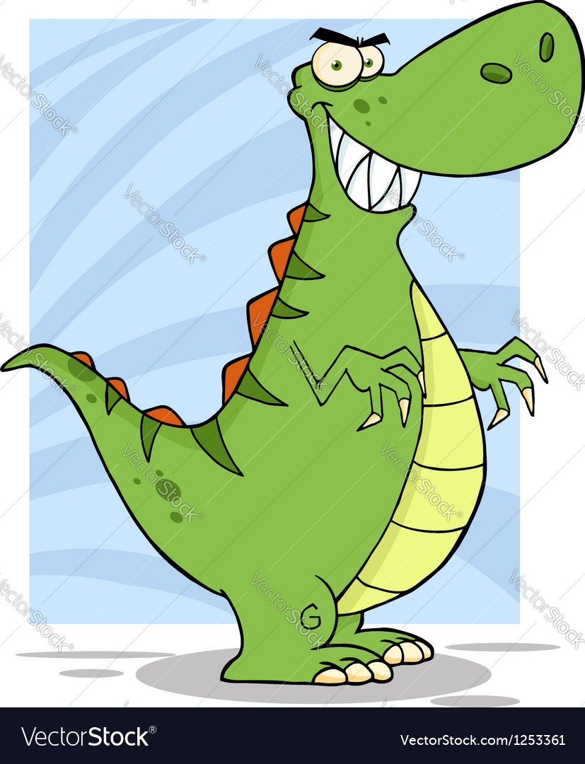 Angry dinosaur cartoon mascot character vector | Price: 1 Credit (USD $1)