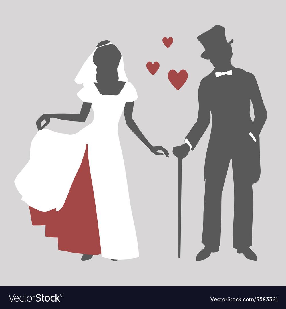 Bride and groom in retro style vector | Price: 1 Credit (USD $1)
