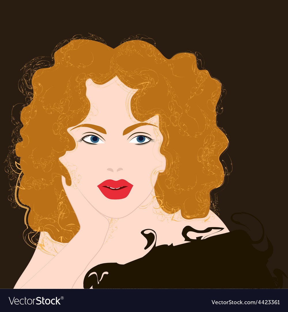 Curly girl vector | Price: 1 Credit (USD $1)