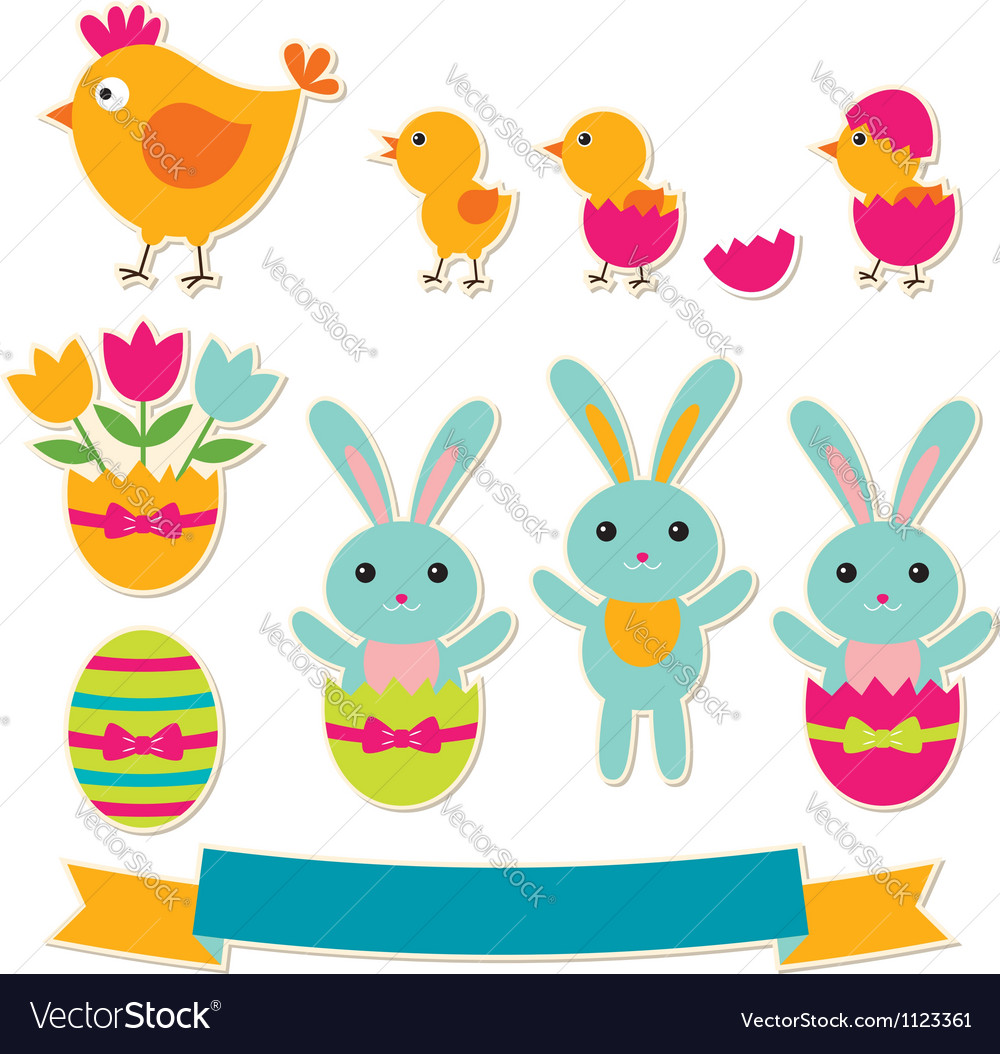 Easter stickers set vector | Price: 1 Credit (USD $1)