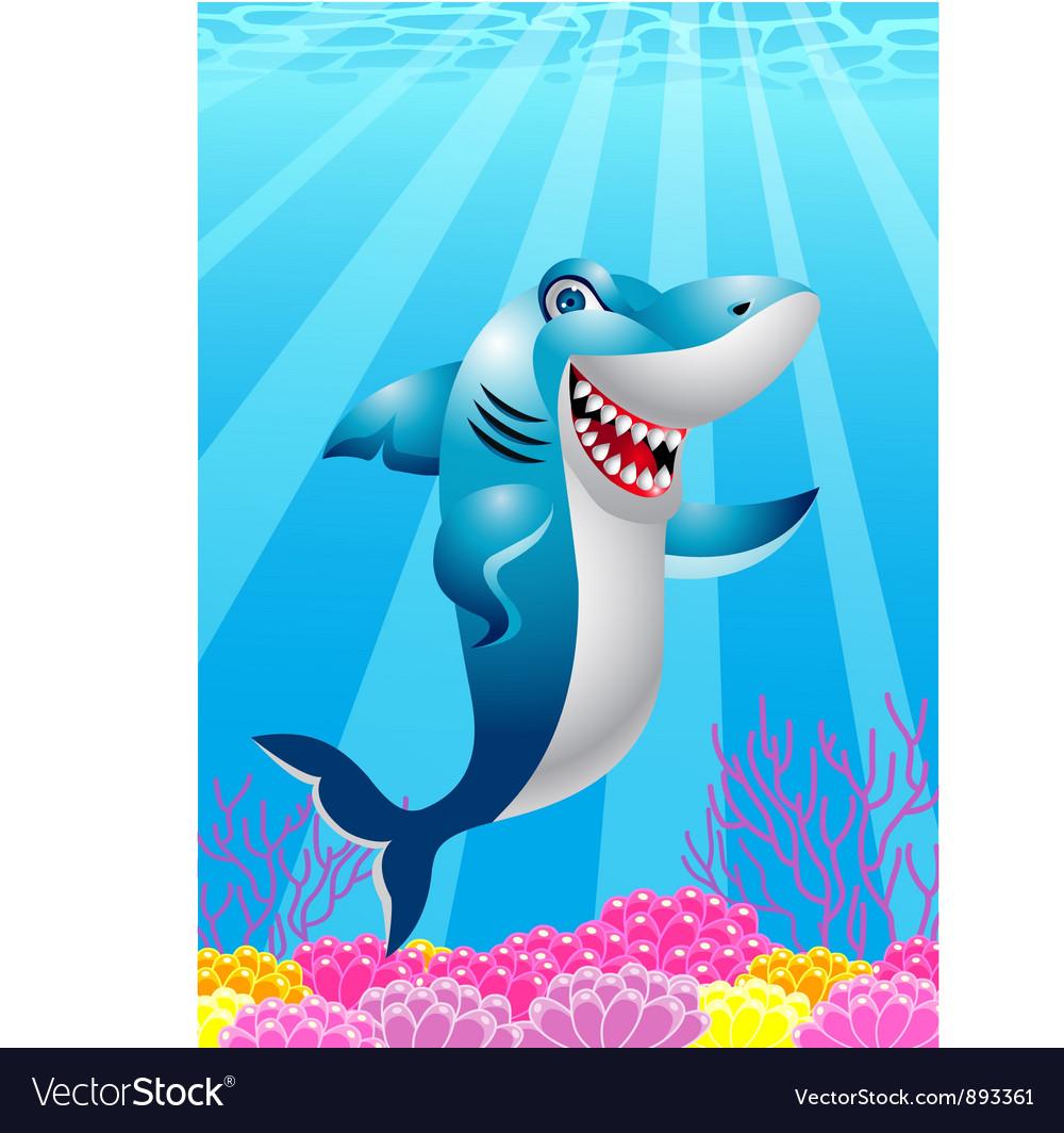 Funny shark cartoon vector   Price: 1 Credit (USD $1)
