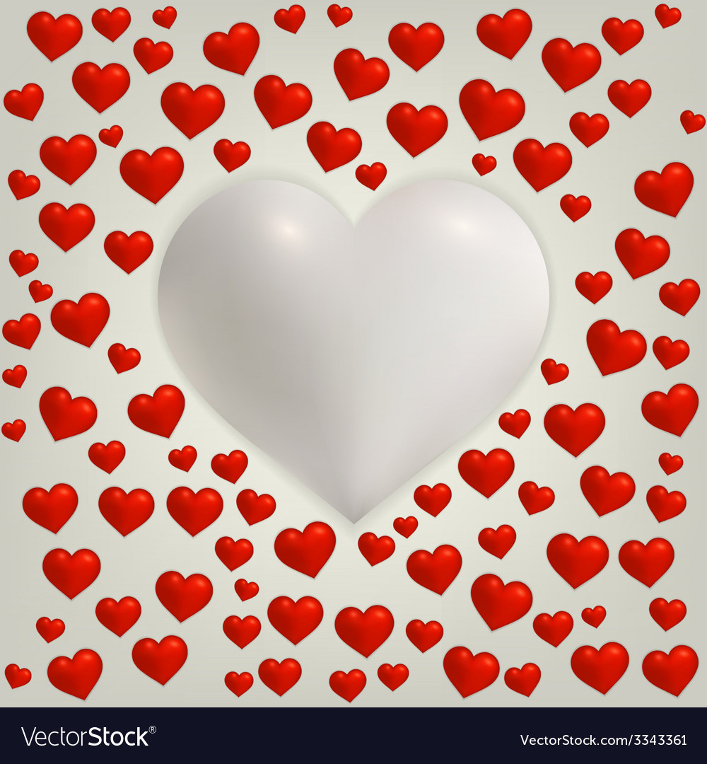 Heart valentines day card with red hearts and big vector | Price: 1 Credit (USD $1)