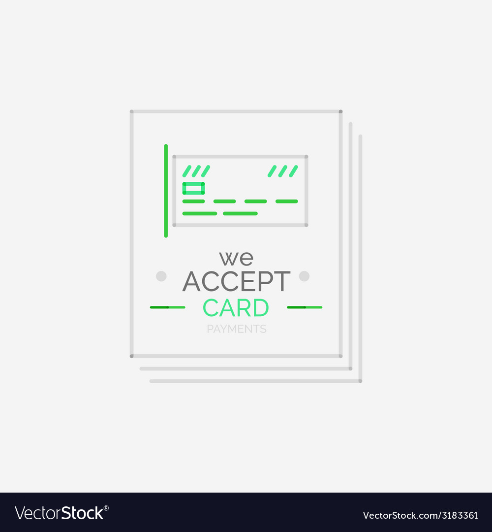 Line design shopping stamps accept card label vector | Price: 1 Credit (USD $1)