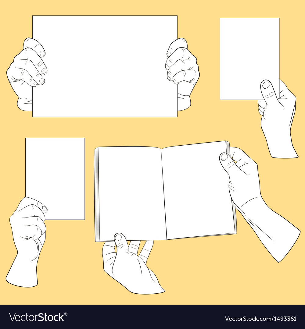 Set of human hands with paper vector | Price: 1 Credit (USD $1)