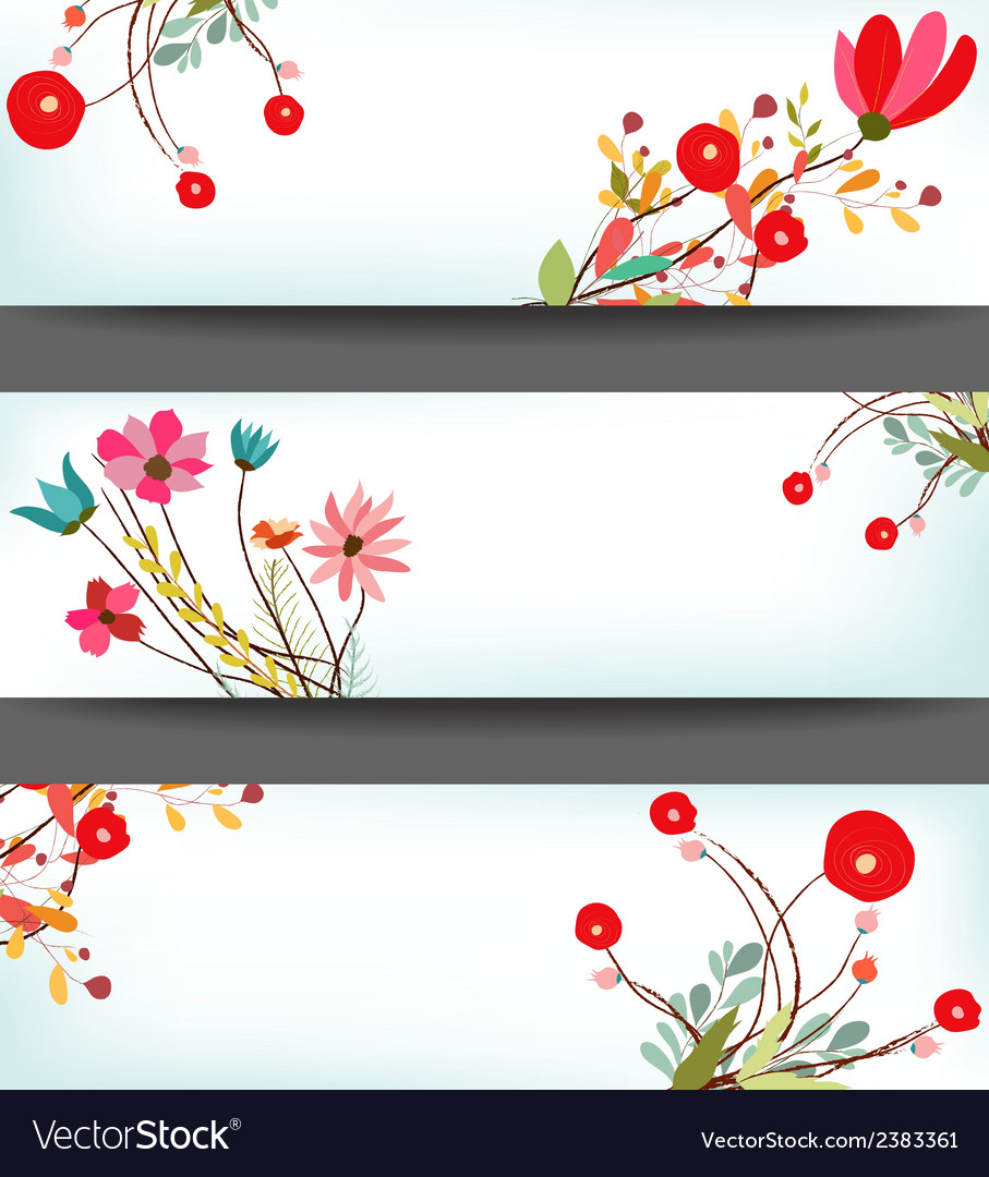 Set of three nature banners with floral element vector | Price: 1 Credit (USD $1)