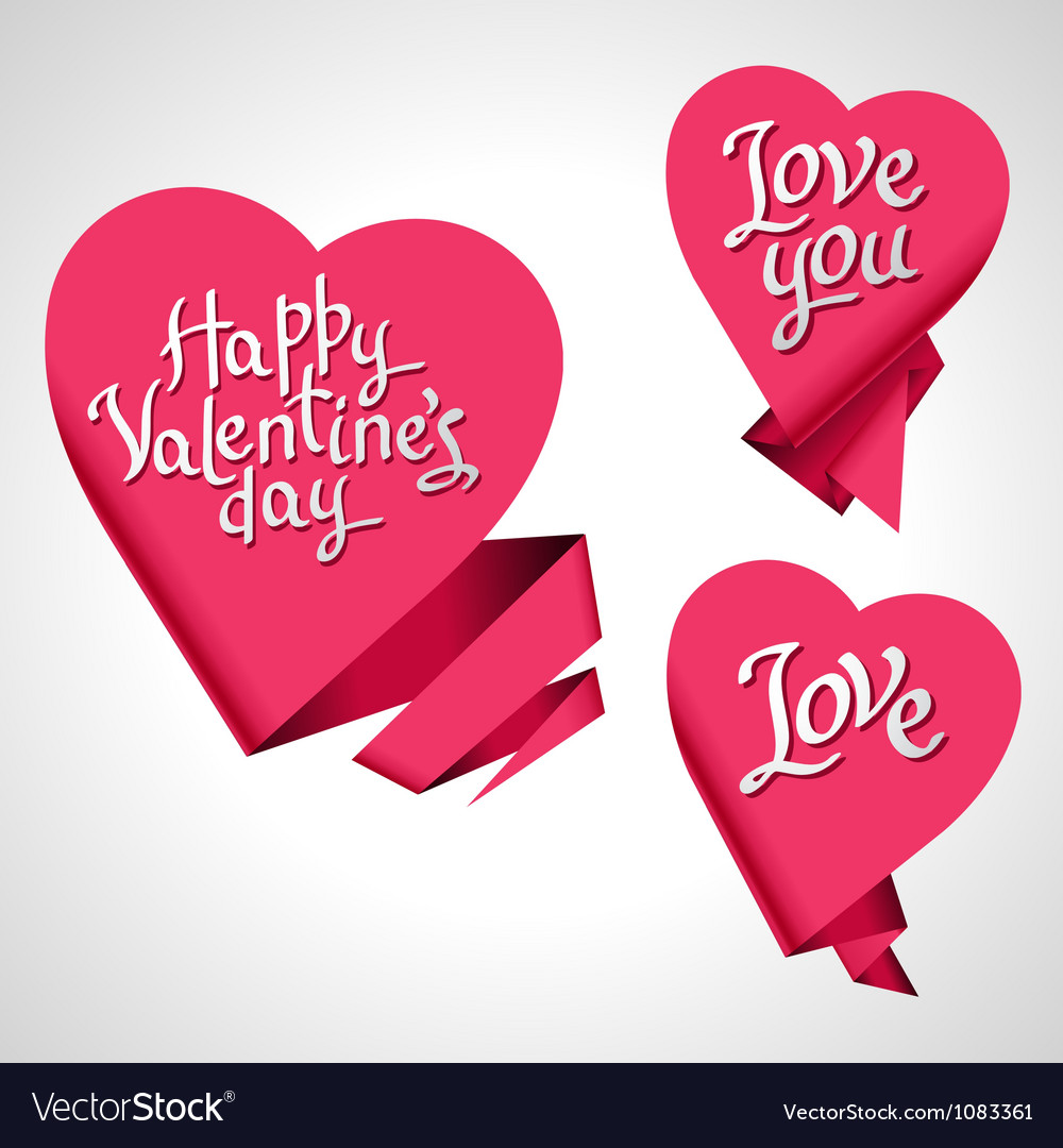 Valentines day background origami speech bubble vector | Price: 1 Credit (USD $1)