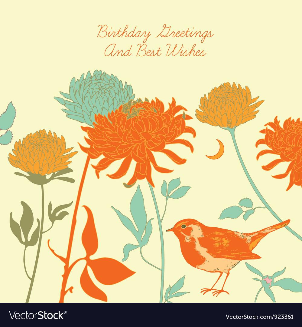 Vintage floral birthday card vector | Price: 1 Credit (USD $1)