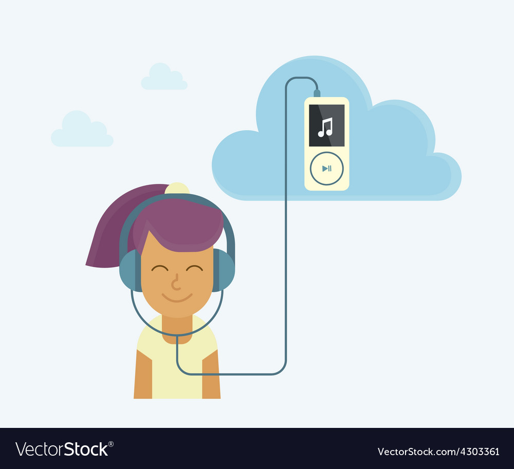 Young girl is listening to music vector | Price: 1 Credit (USD $1)