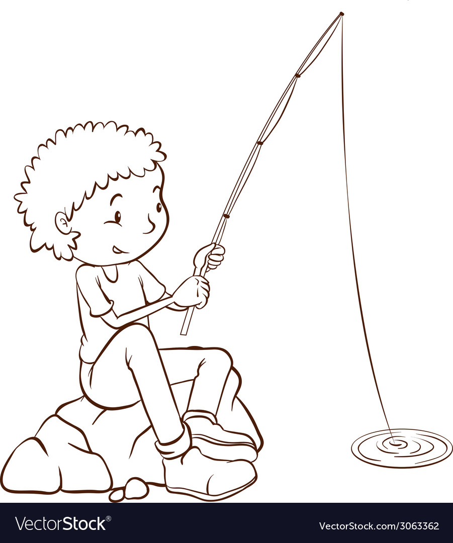 A simple plain sketch of a boy fishing vector | Price: 1 Credit (USD $1)