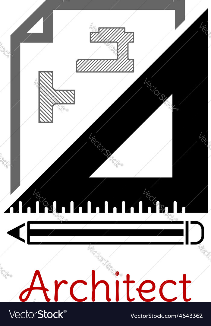 Black and white architect icon vector | Price: 1 Credit (USD $1)