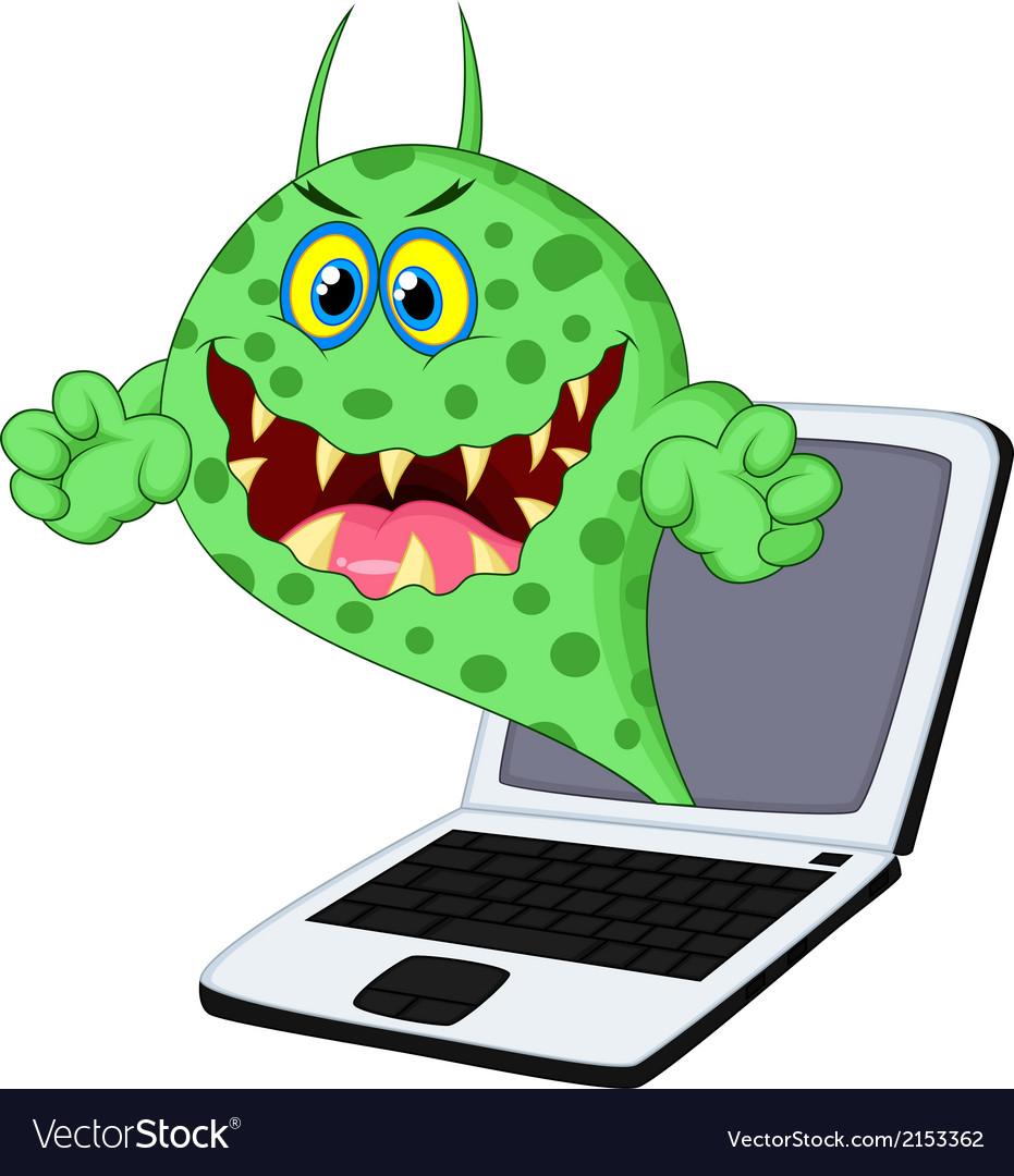 Cartoon virus on laptop vector | Price: 1 Credit (USD $1)