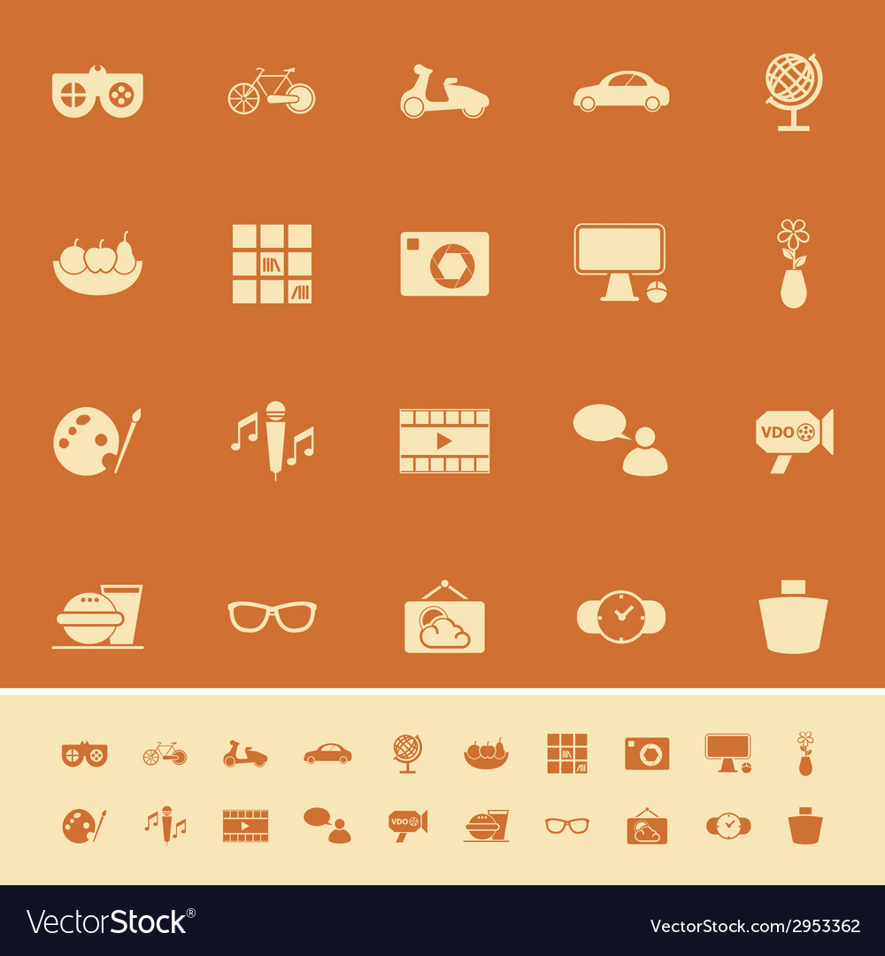 Favorite and like color icons on orange background vector | Price: 1 Credit (USD $1)