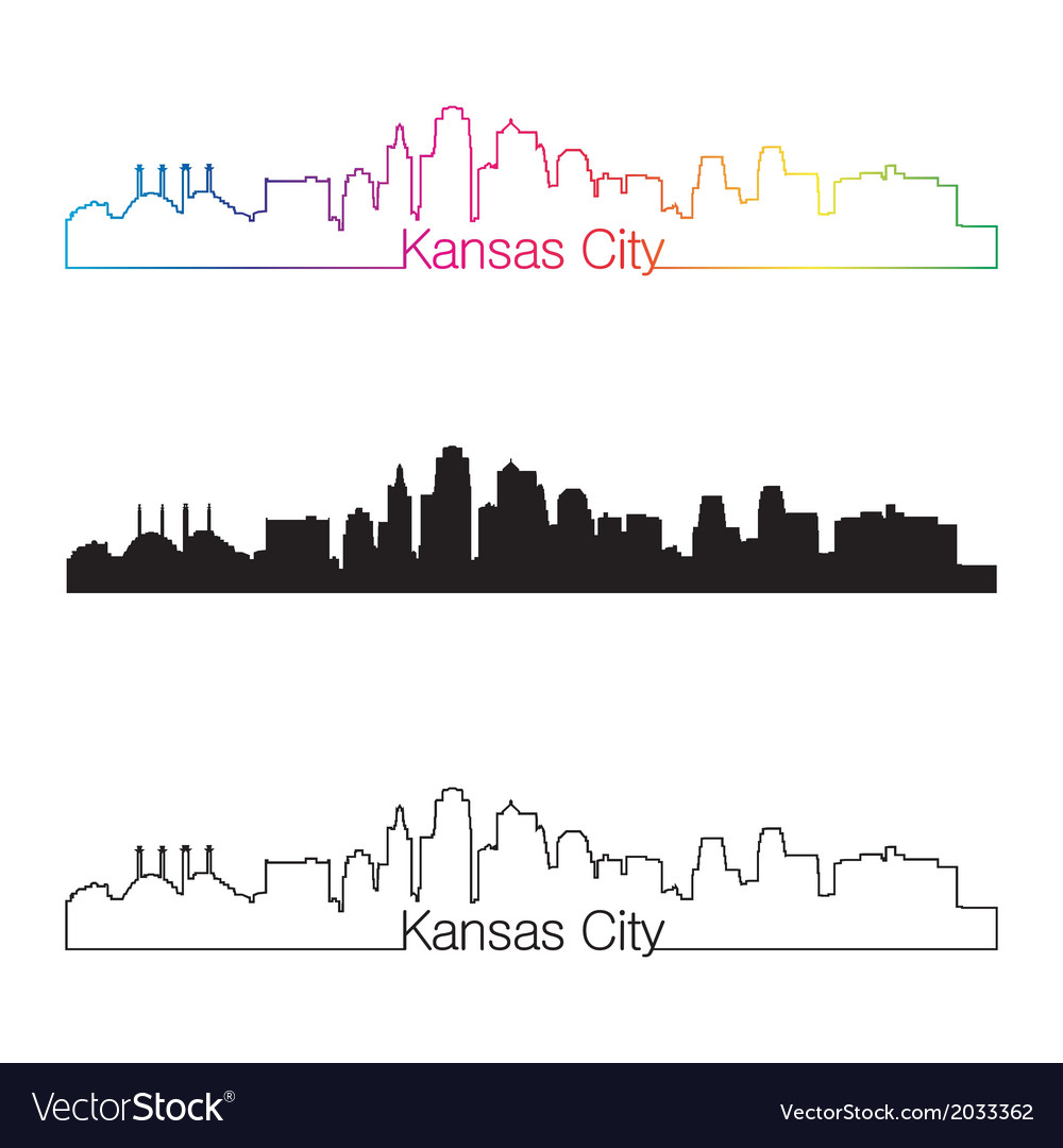 Kansas city skyline linear style with rainbow vector | Price: 1 Credit (USD $1)