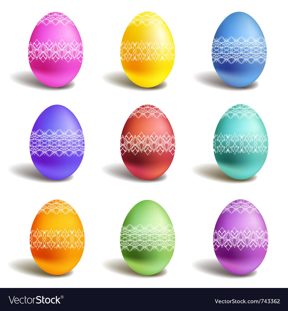 Set of color easter eggs vector | Price: 1 Credit (USD $1)
