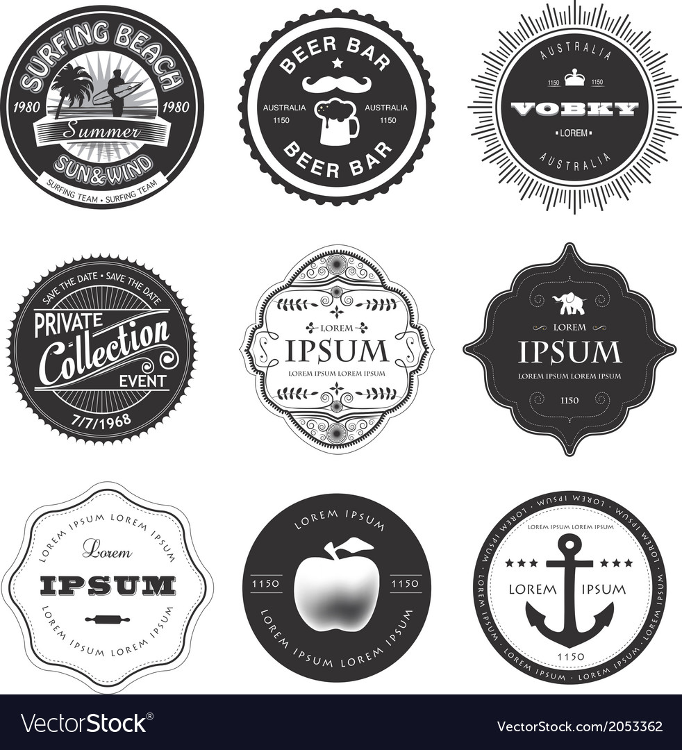Set of labels vector | Price: 1 Credit (USD $1)