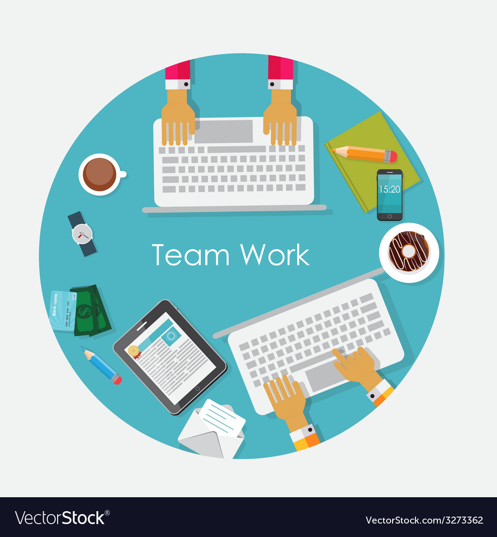 Team work flat concept vector | Price: 1 Credit (USD $1)