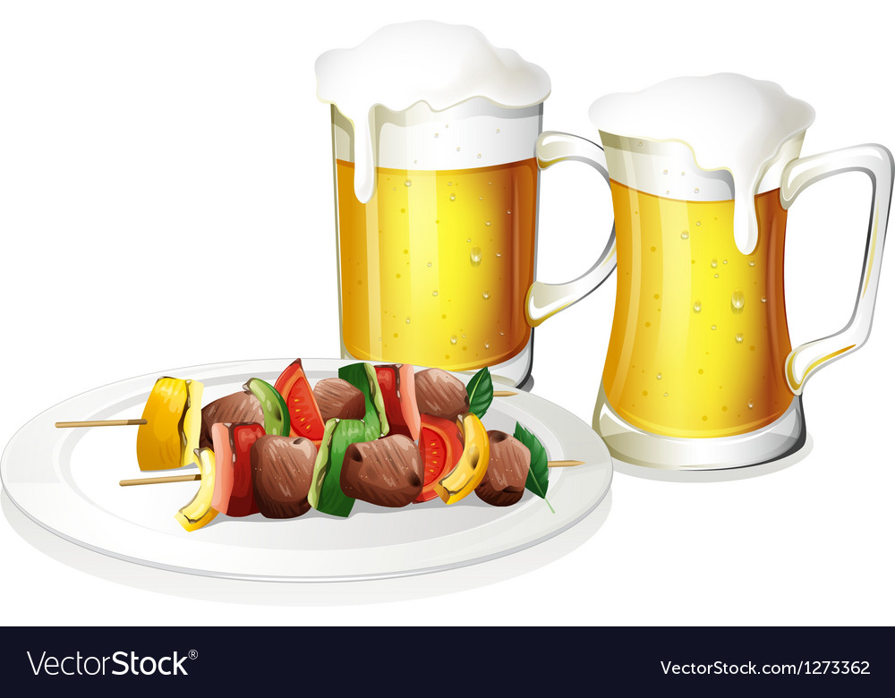 Two glasses of beer with a plate of barbeque vector | Price: 1 Credit (USD $1)
