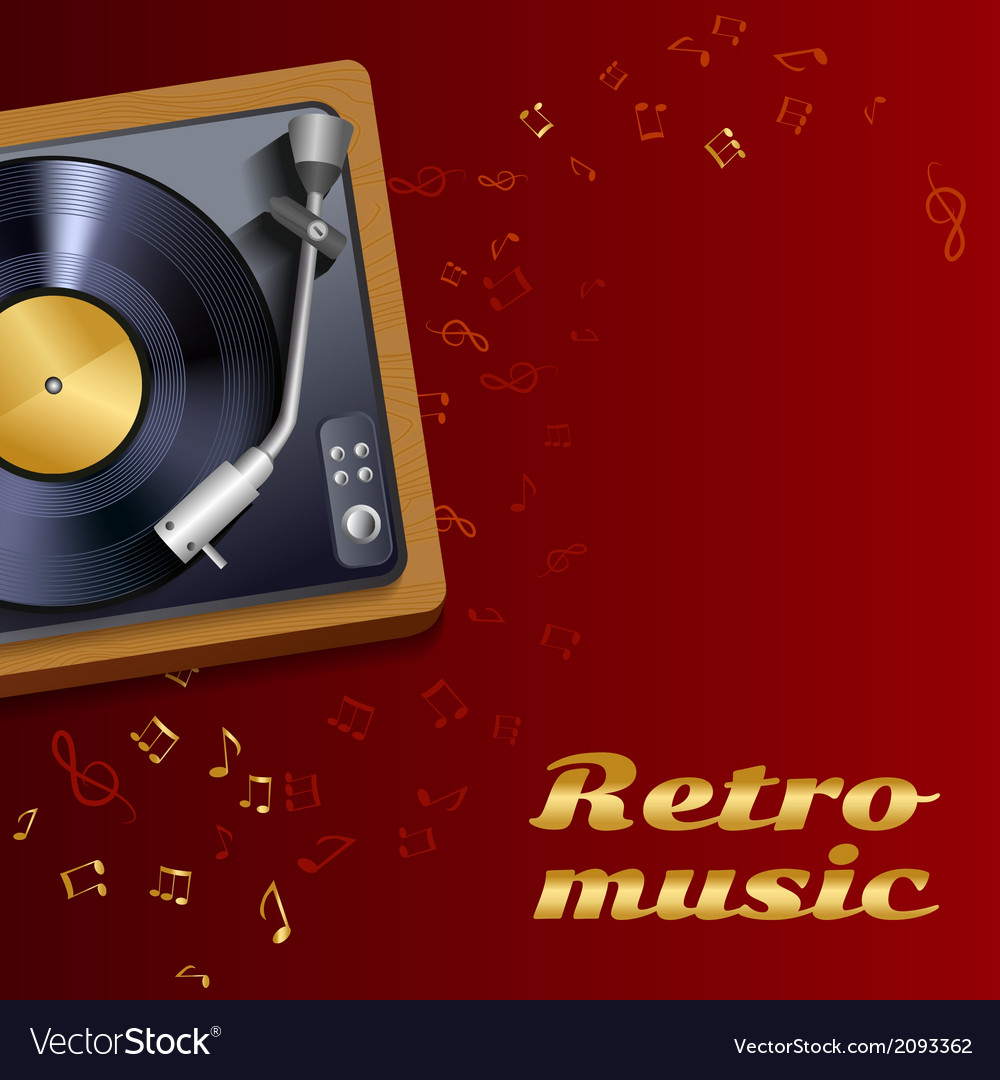 Vinyl record player poster vector | Price: 1 Credit (USD $1)