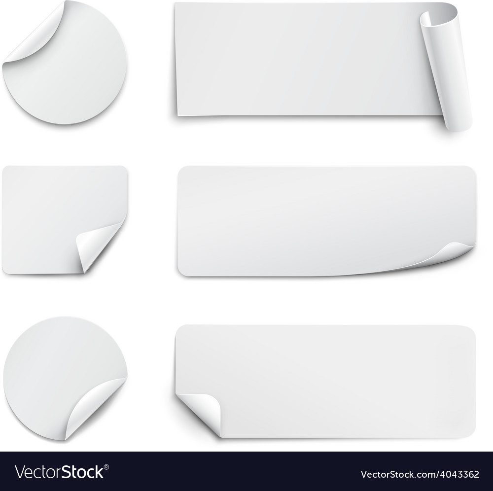 White paper stickers on white background vector | Price: 1 Credit (USD $1)