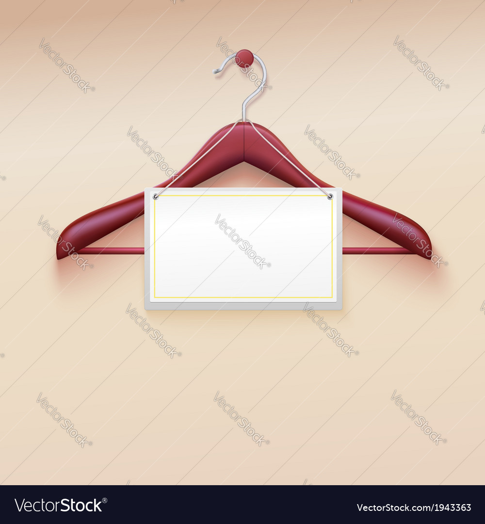 Clothes hanger with tag isolated on cream vector | Price: 1 Credit (USD $1)