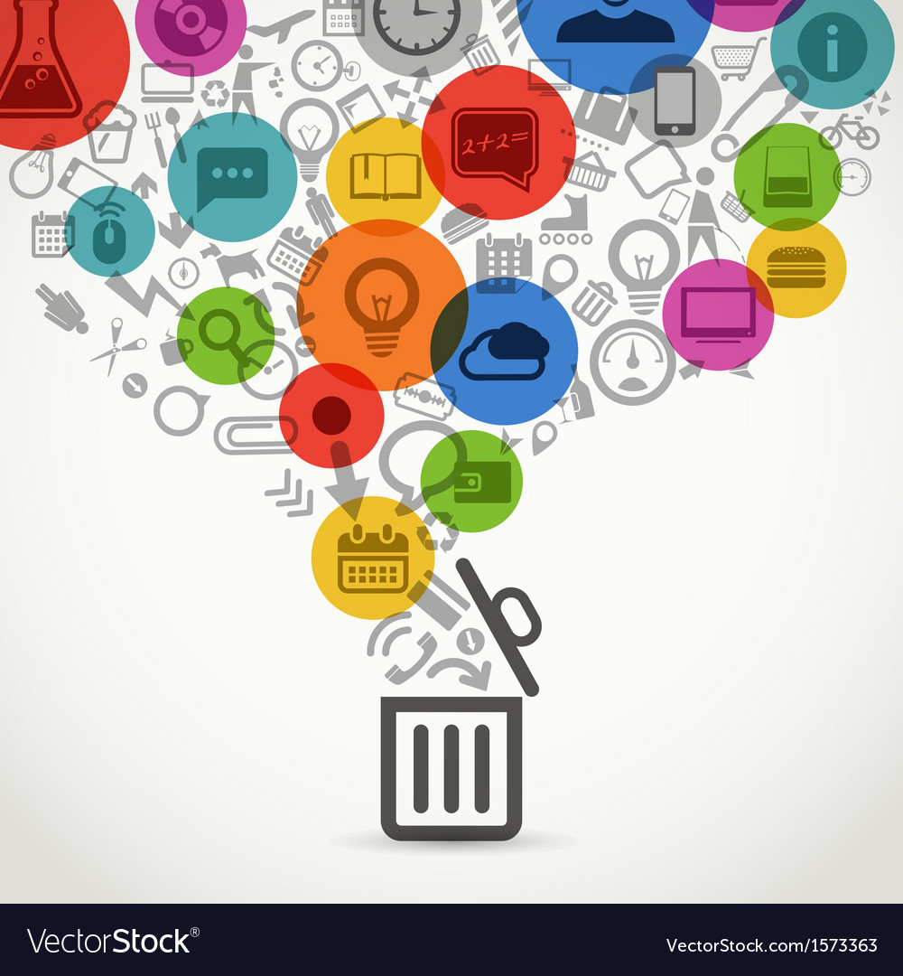 Different icons flows into open garbage basket vector | Price: 1 Credit (USD $1)