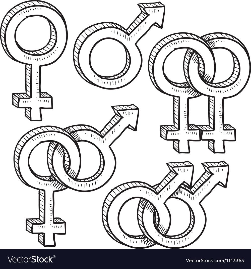 Doodle gender sex symbols vector   Price: 1 Credit (USD $1)