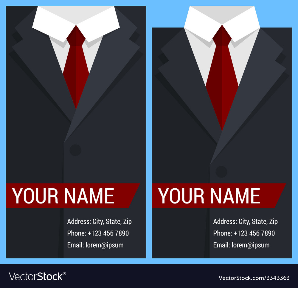Flat business card template with black jacket vector | Price: 1 Credit (USD $1)