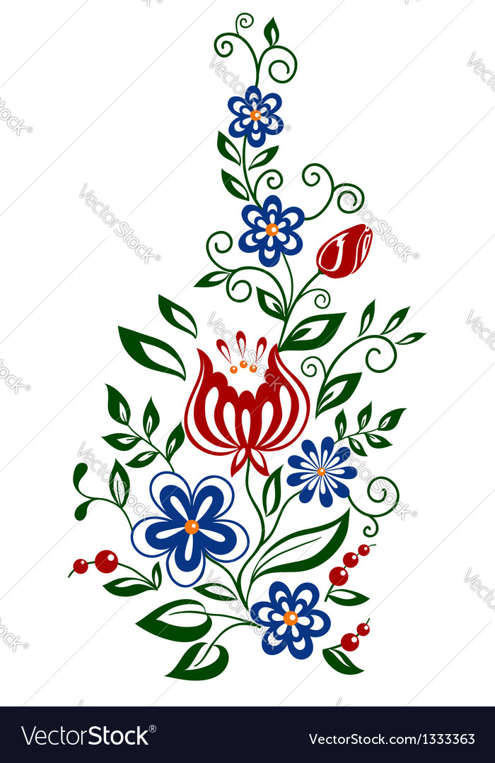 Floral element flowers and leaves design element vector | Price: 1 Credit (USD $1)
